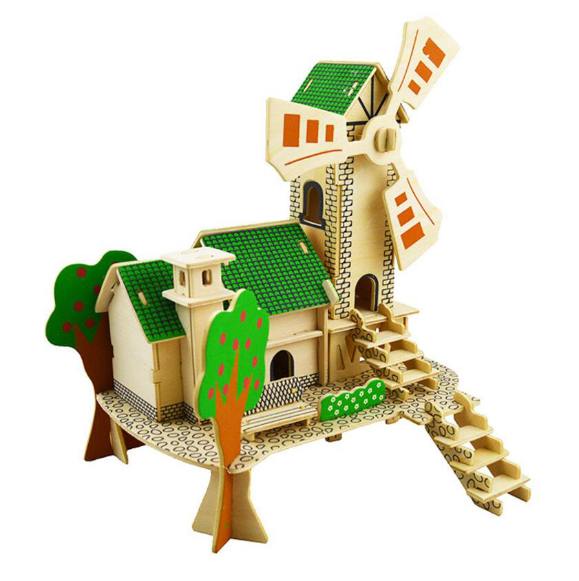 Дети DIY Деревянный 3D Сборка игрушки вид на море Вилла головоломки дом здания IQ развивающие Игрушечные лошадки шале дерево Паззлы дети игруш...