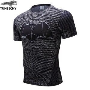 TUNSECHY Brand female clothing fashion Round collar short sleeve T-shirt batman superman heroes Compression tight T-shirts