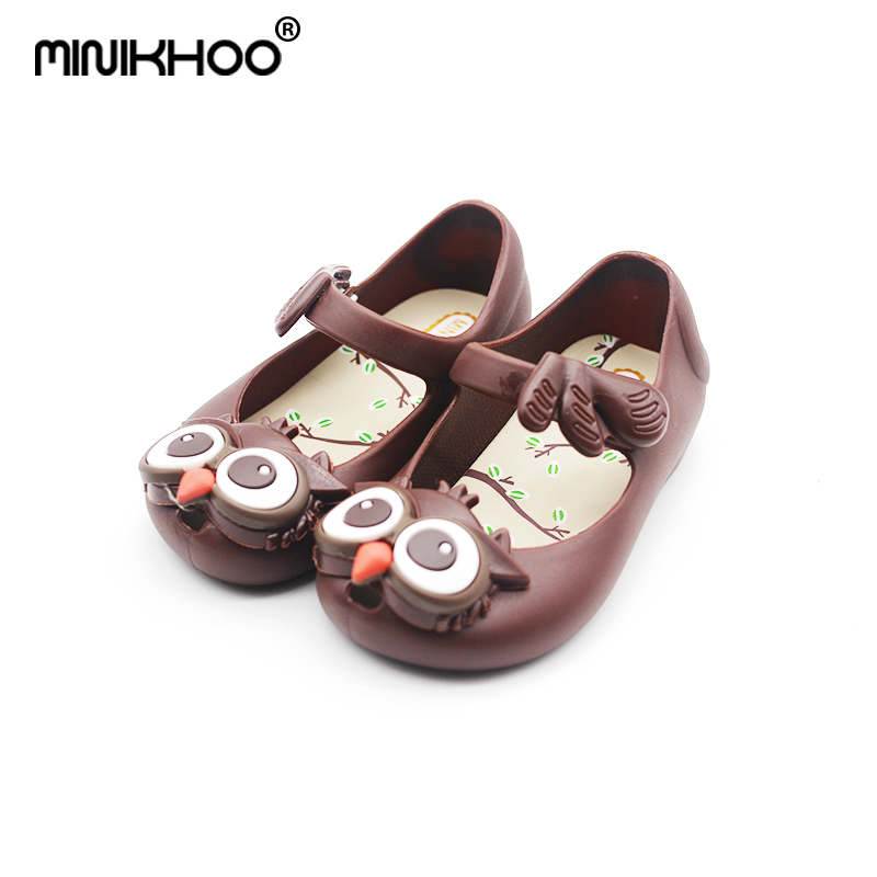 Mini Melissa Owl Girl Jelly Sandals Children Shoes Jelly Sandals MINI SED Brand Sandals Breathable Girl Beach Sandals Baby Shoes