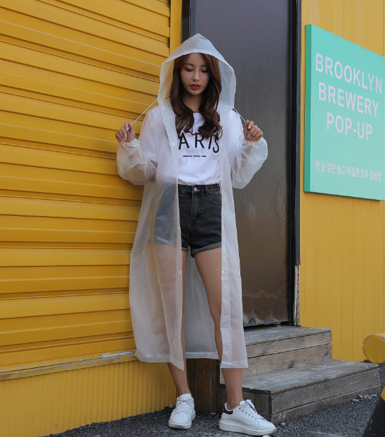 1.Fashion EVA Women Raincoat Thickened Waterproof Rain Coat Women Clear Transparent Camping Waterproof Rainwear Suit Rain jacket_