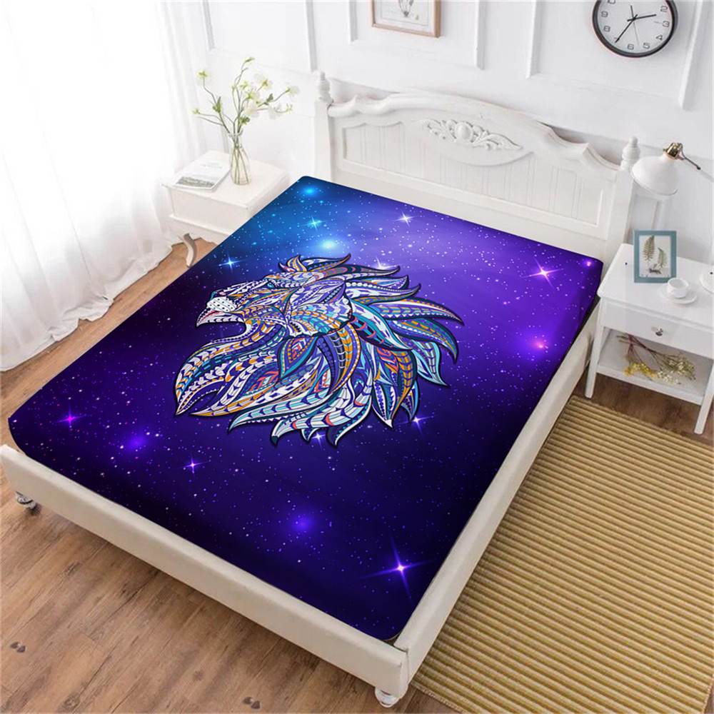 Cool Lion Print Bed Sheets Boys 3D Animal Fitted Sheet Purple Galaxy Print Sheet King Queen