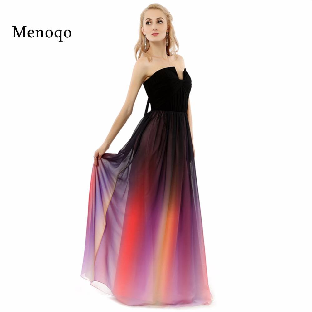 Vestidos De Festa A Line Strapless Gradient Ombre Chiffon Evening Dresses For Elegant Woman Real Photo Long Prom Dresses