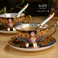 Luxury Fashion Palace Painted Cup Dish Bone China Coffee Cup European Style Afternoon Tea Set Ceramic Cup Saucer Set Fast Post
