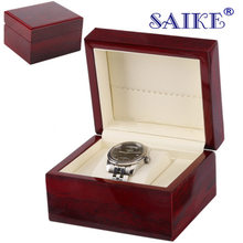 High Light Wooden Watch Box Red Luxury Watch Display Box Jewelry Gift Storage Box For Single Watch Can Customize LOGO W0112