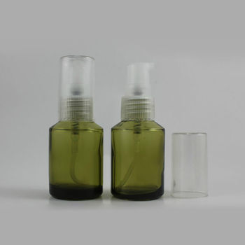 50pcs wholesale 30 ml light green glass round lotion container , 1ounce glass cosmetic bottles liquid cream