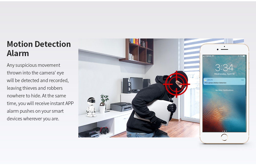 Motion detection Alarm - any suspicious movement thrown into the camere eye