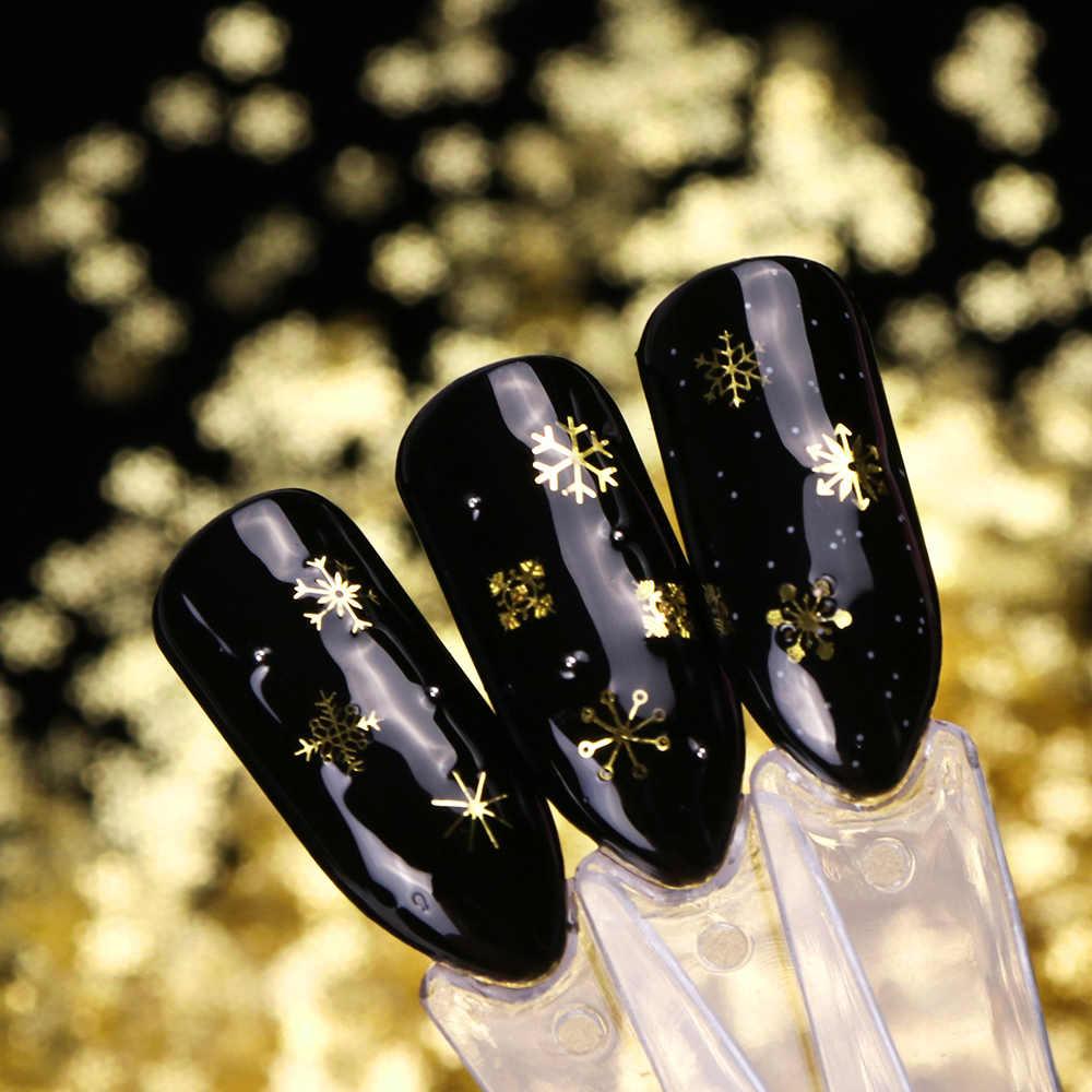 1 กล่อง Hollow OUT GOLD เล็บ Glitter Snow Flakes ผสมตกแต่งสำหรับเล็บ Pillette เล็บอุปกรณ์เสริม LA889-1
