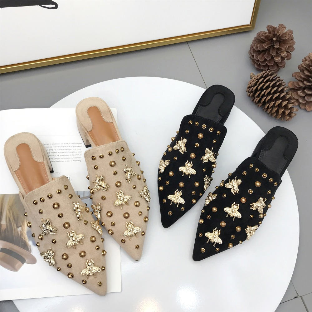 Women Suede Mules Mental Rivets Bee Fashion Design Summer Slides Pointed Toe 3 CM Square Heels Slippers Slip On Black Beige fedonas fashion women pumps casual women square toe low heels mules slip on slippers rivets button leisure retro british pumps