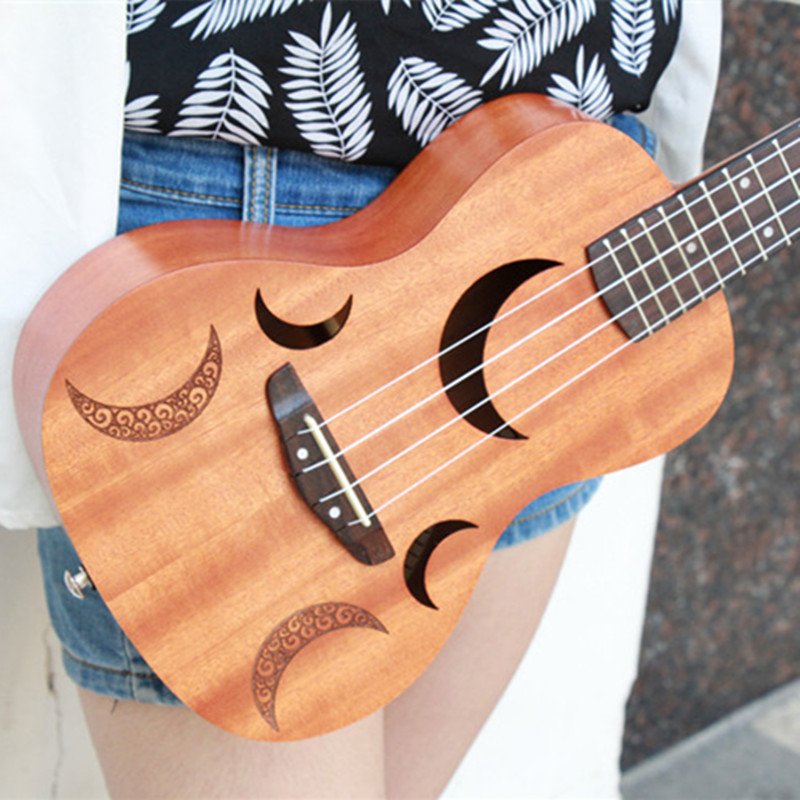 Star, Moon and Sun Tenor Acoustic Ukulele 23 Inch 18 Frets Uke Hawaiian Guitar 4 Strings Guitar Music Instrument tenor concert acoustic electric ukulele 23 26 inch travel guitar 4 strings guitarra wood mahogany plug in music instrument