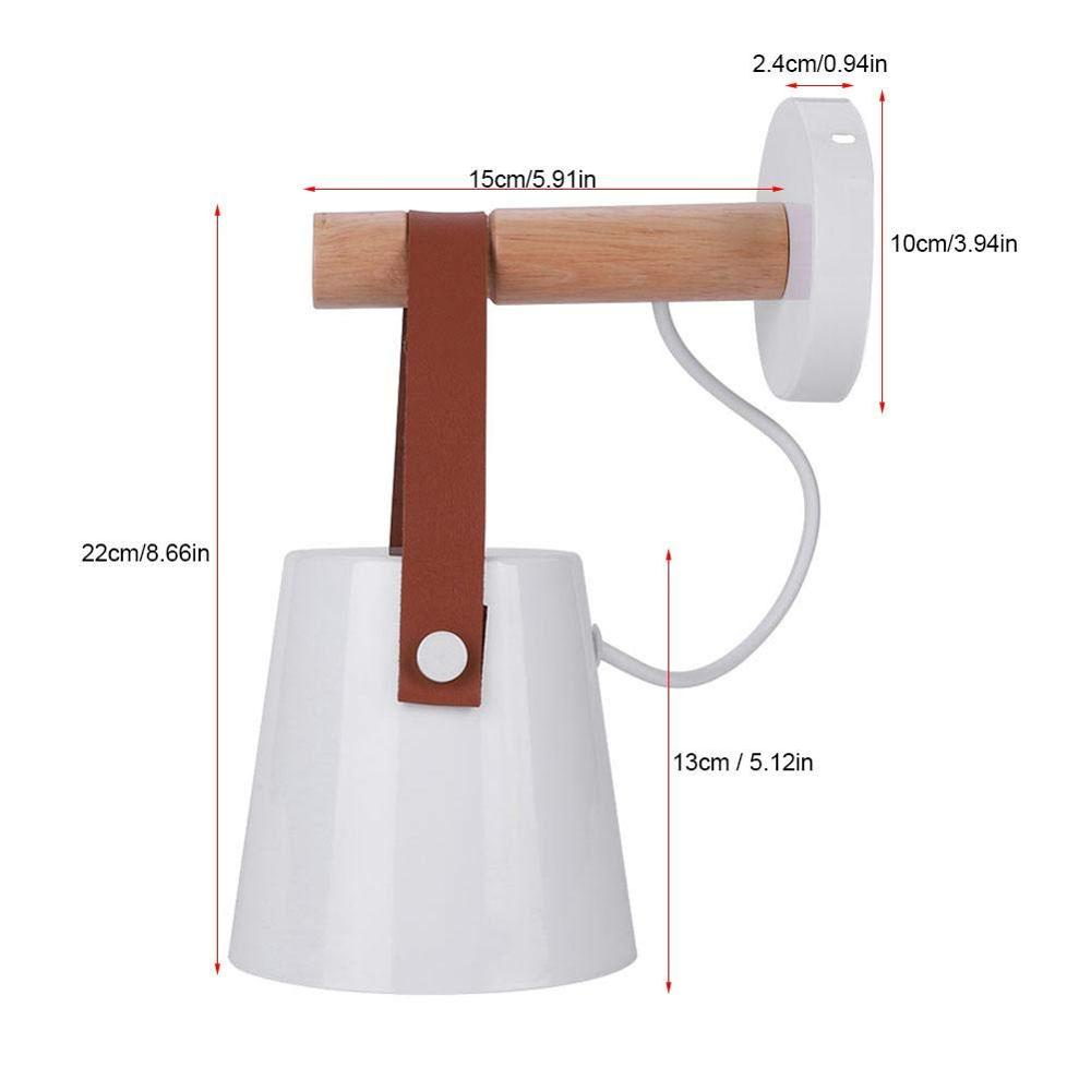Image 4 - Nordic bedroom LED bedside Wall Lamps Indoor E27/E26 aisle lighting hotel Creative Wooden White/Black vanity Wall Sconces Light-in Wall Lamps from Lights & Lighting
