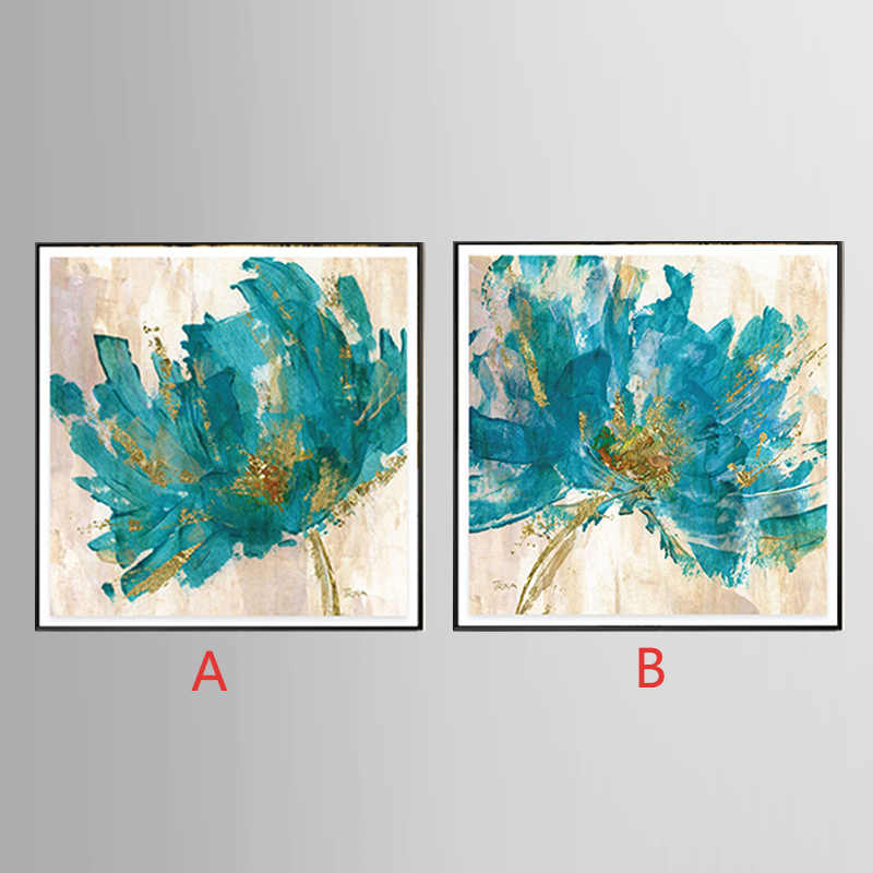 Unframed Canvas Printings Blue flower series Modern Style Cheap Pictures Decorative Wall Art Framed Prints Gift 201812-flower