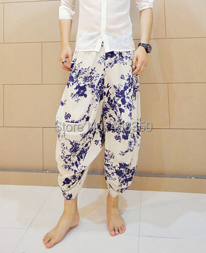 Blue-and-white Low Dropped Crotch Linen Harem Pant Mens Original Design Fashion Flower Loose Casual Summer Brand Beach Trousers 2015 HOT NEW (7).jpg