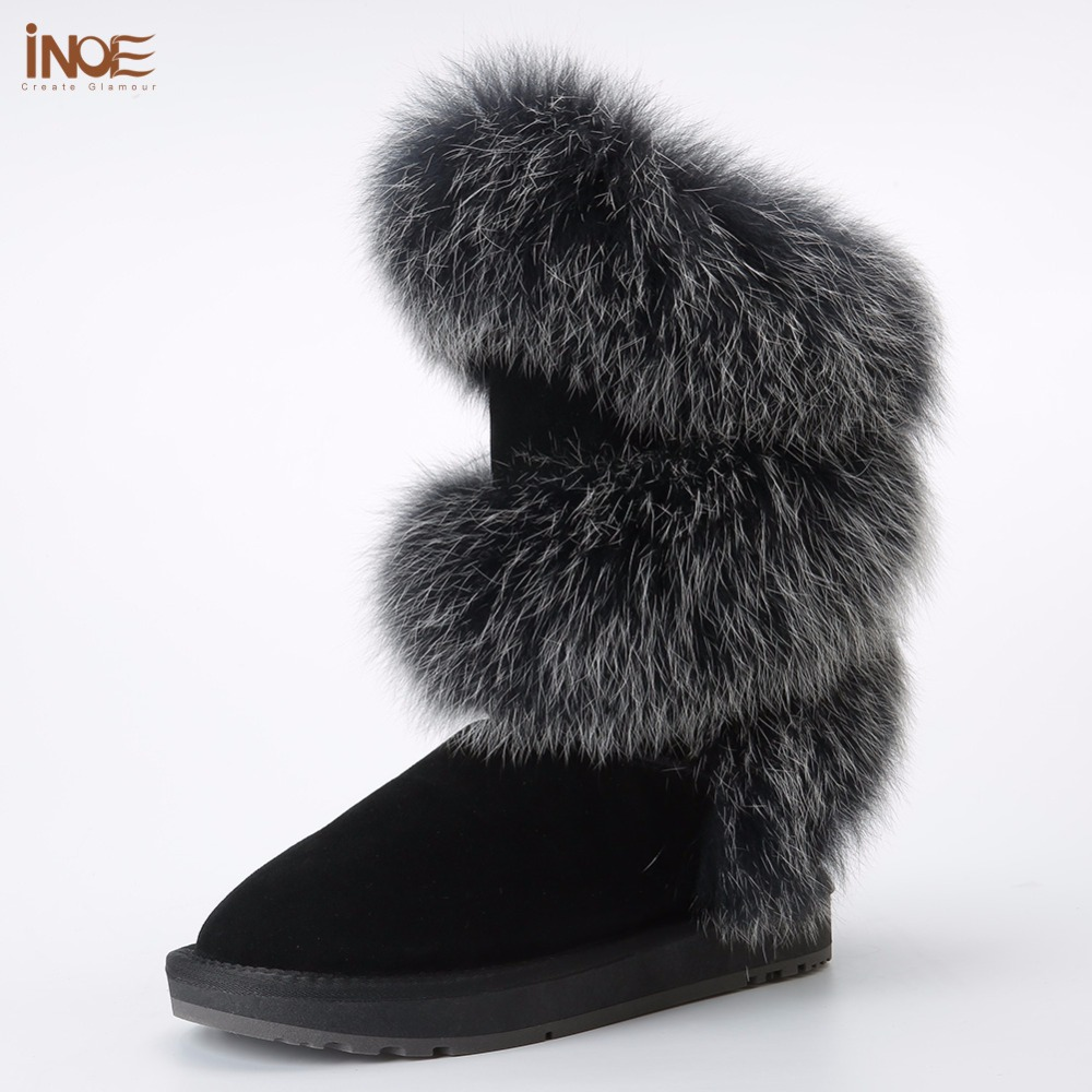 INOE fashion style real b'lue fox fur women high winter flats snow boots cow suede leather winter shoes black grey high quality inoe fashion big fox fur real cow split leather high winter snow boots for women winter shoes tall boots waterproof high quality