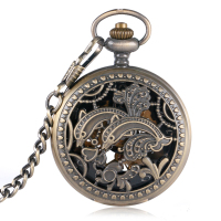 Mechanische Pocket Horloges Koper Zakhorloge Wind Up Steampunk Klok Hanger Chain Hollow Dolfijnen Bloem Trendy Kerstcadeau