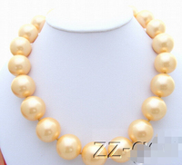 Free shipping >>20mm Golden Sea Shell Pearl pendant Necklace AAA style Fine Noble real Natural