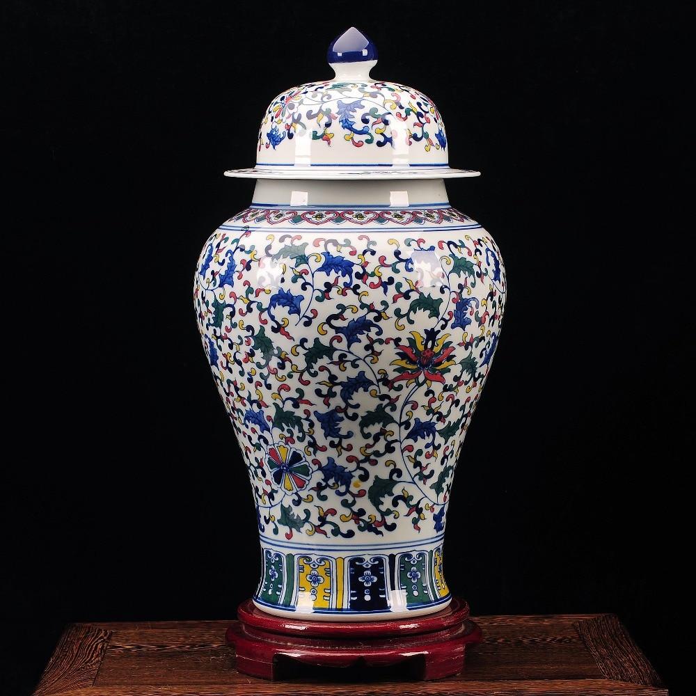 Jasné Underglaze Blue Red Keramické porcelánové zázvorové sklenice Temple Jars s květinovým vzorem