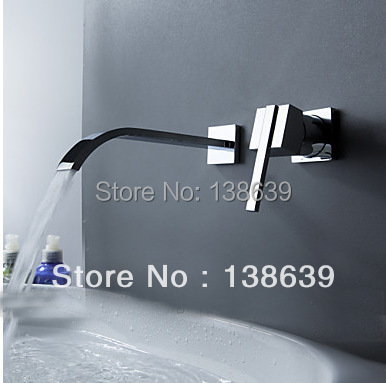 ФОТО Free shipping Contemporary Modern 2 PCS Wall Mount Bathtub Faucet Set Chrome polished waterfall Bathroom Mixer Tap 6201