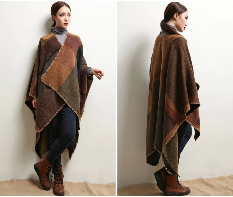 Women's Winter Poncho, Vintage Blanket, Women's Lady Knit Shawl, Cashmere Scarf Poncho 22