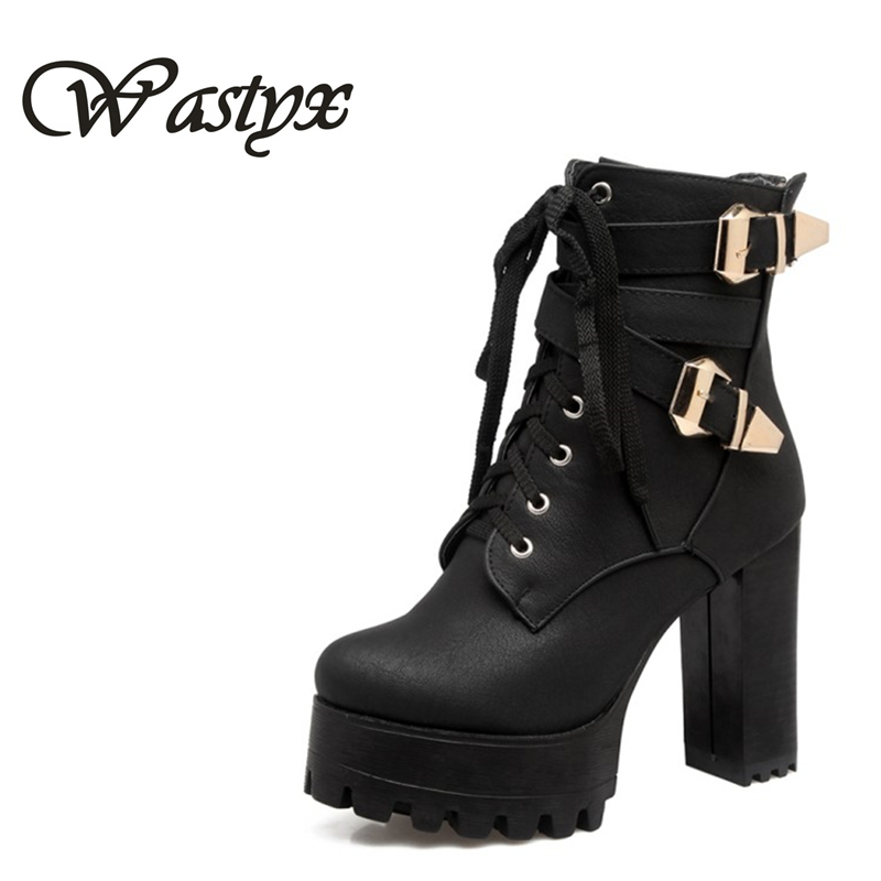 Wastyx new Fashion Women Boots High Heels Ankle Boots Platform Shoes Brand Women Shoes Autumn Winter Botas Mujer Size 34-48 ankle boots women black pu leather extreme high heels zipper autumn brand platform women s shoes motorcycle boots botas mujer