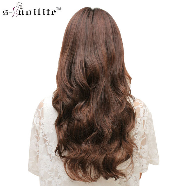 Snoilite 24inch Synthetic Curly Long Clip In Hair Extensions Half