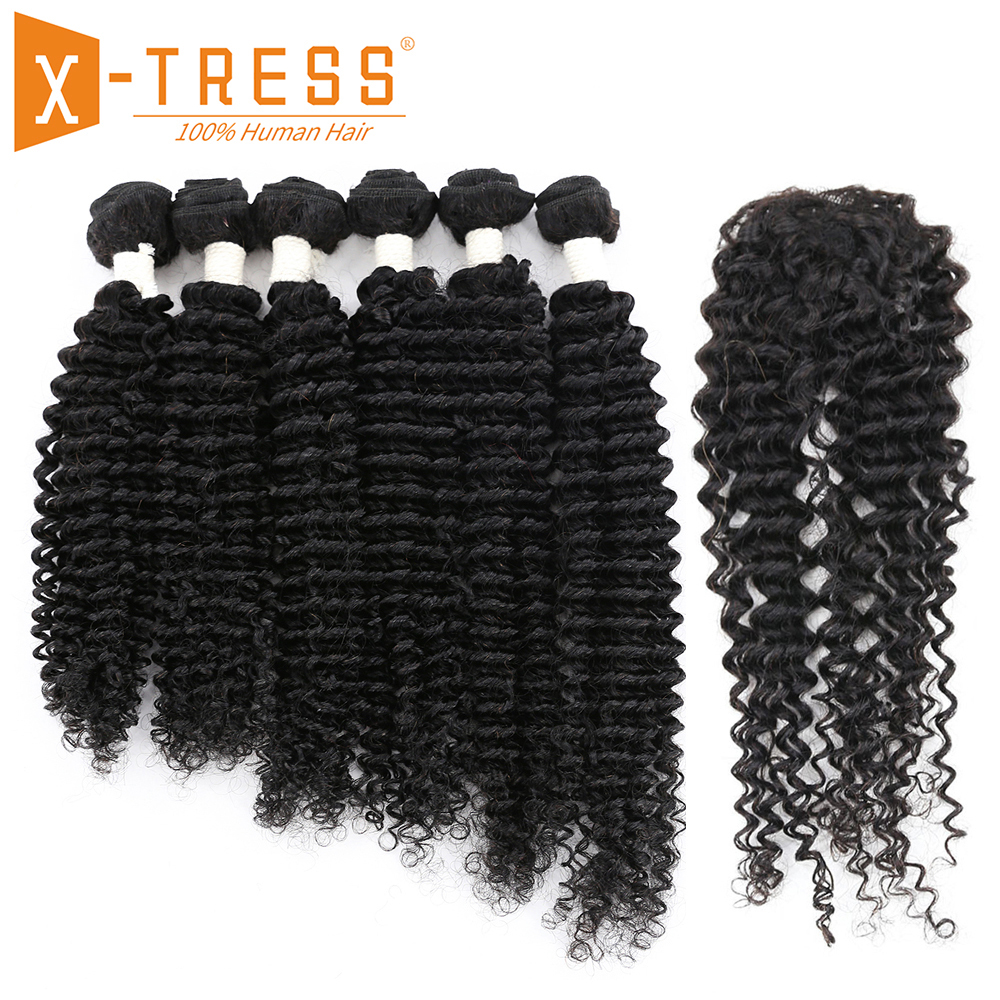 Bohemian Wave Human Hair Bundle Deals With Closure X-TRESS Malaysia Non Remy Hair Weft Extensions Natural Black Color 6 Bundles