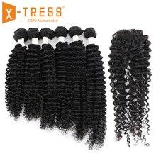 Extensiones de cabello humano con ondas bohemias, oferta de extensiones con cierre, X TRESS, Malaysia, no Remy, Color negro Natural, 6 mechones