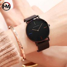 лучшая цена Ladies Watch Luxury Brand Women Simple Black Quartz Watches Rose Gold Stainless Steel Watch Female Wristwatches relogio feminino