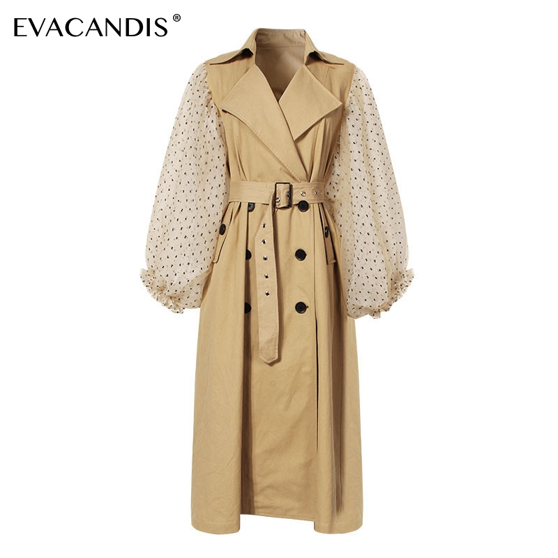 Polka Dot Khaki   Trench   Coat Lantern Sleeve Long Women Double Breasted Patchwork Chic Vintage Overcoat Autumn Outwear