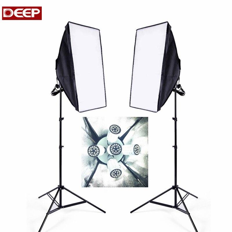 2ps softbox 2ps light tripod 10pcs LED E27 Bulbs 5 in 1 sockets video lighting kit