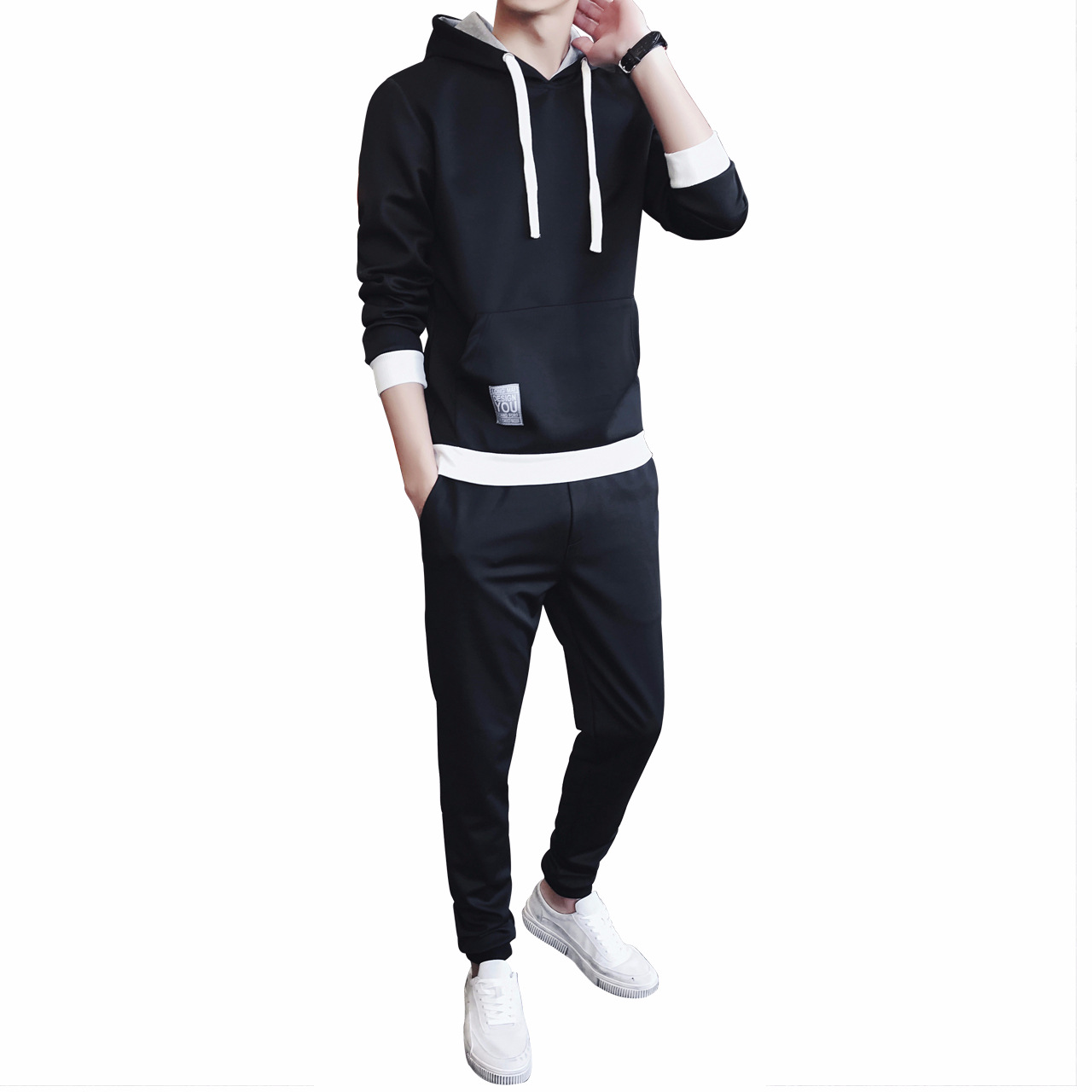 hoodies Sweats Spring New Mens Casual Suit Student Suit Mens Fashion Long-sleeved Shirt + Pants Casual Suit hoodies