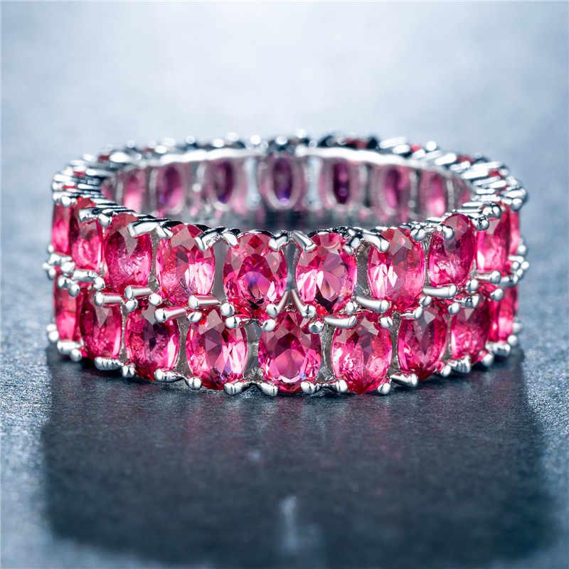 Modyle новый бренд 3 цвета двухрядные Циркон полный кольцо серебро Цвет Женщины Ювелирные изделия Лидер продаж