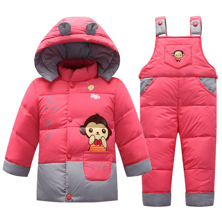 2017 new Baby Kids girl boy toddler winter Romper Clothes cartoon hooded design down sets suit jacket coat+overalls baby outwear new arrival spring printing pattern cotton 2017 child cartoon design fox baby hooded boy girl jacket outwear coats kids clothing
