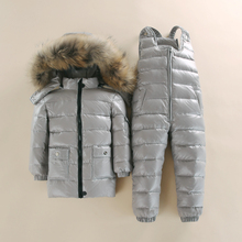 -30 degree Russia Winter childrens clothing girls clothes sets boys parka jackets coat down snow wear waterproof White Duck