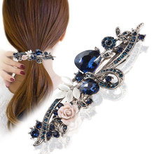 Unique 1 PCS Vintage Women  Hair Clips Opal Leaf Resin Girls Head wear Jewelry Elegant Barrettes