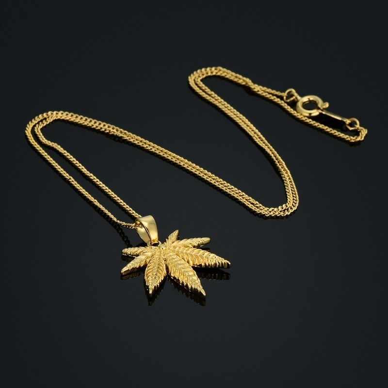 الهيب هوب الأمريكية كندا جامايكا القنب مابل ليف قلادة الأفريقي النباتات شجرة الاعشاب أوراق الشجر أوراق الذهب سلسلة القلائد