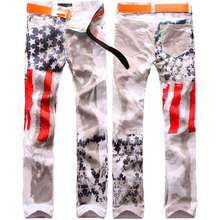 Мужская одежда американский флаг узор мужские джинсы мыть воды зауженные мужские брюки Прямая плюс размер W28-48