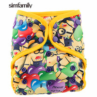 Simfamily 1PC Reusable Waterproof AIO All In One Bamboo Cloth Diaper Baby Nappy Double Gussets