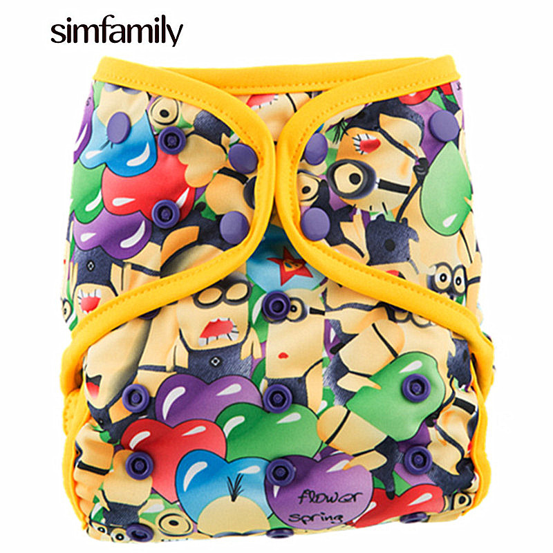 [simfamily]1PC Reusable Waterproof AIO All In One Bamboo Cloth Diaper Baby Nappy Double Gussets Bamboo Insert Wholesale Sell [mumsbest] baby cloth diapers nappy new pack sale 6pcs diaper 6pcs bamboo charocal insert 1pc wet nappy bag baby care pack