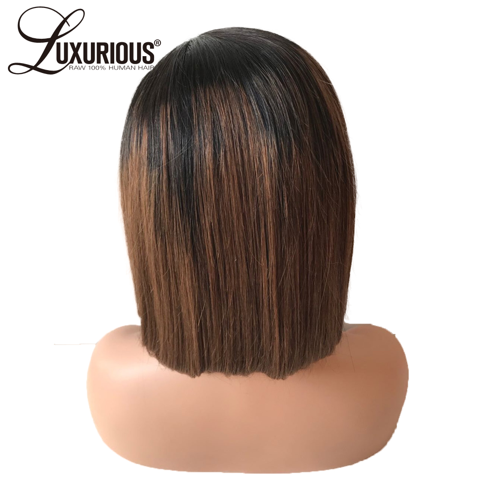 Luxurious Ombre Color #1 B/4 Short Human Hair Wig 150 Percents Density Bleached Knots Peruvian Lace Front Human Hair Wigs Remy Hair by Luxurious