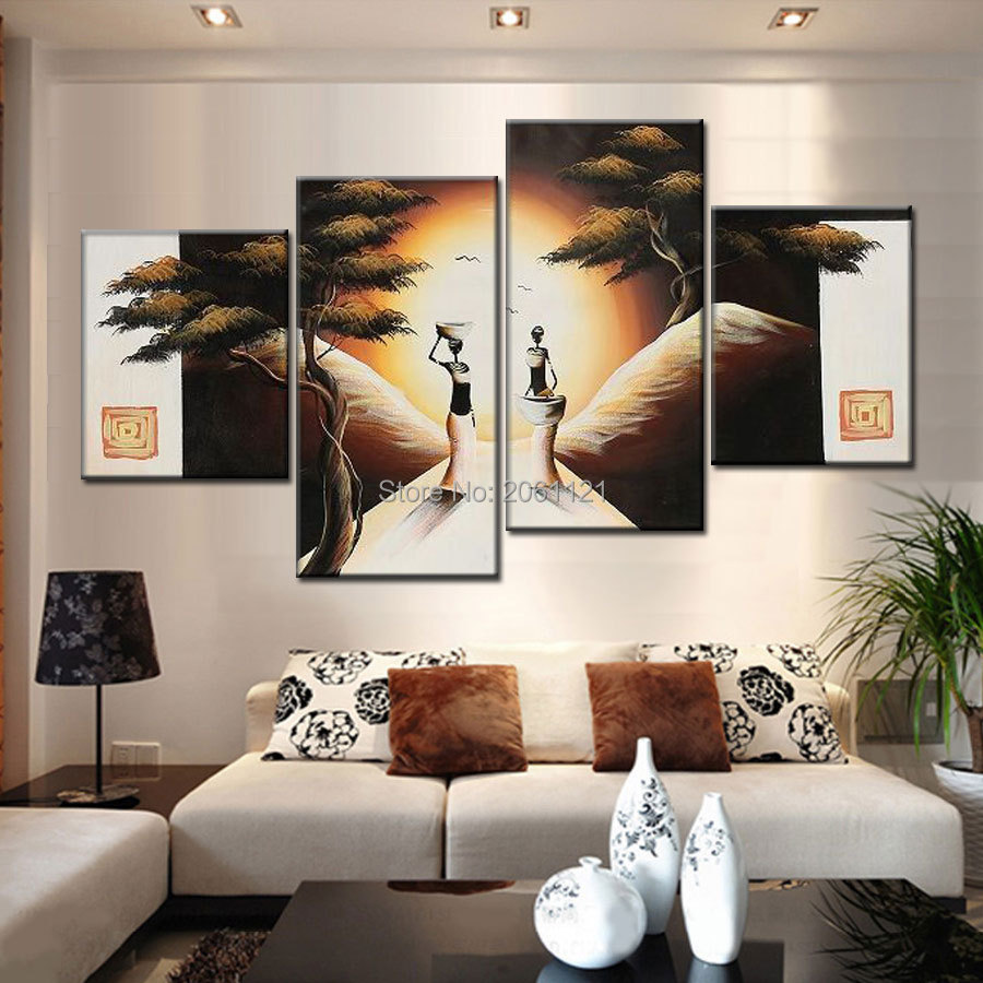 hand painted warm color group oil paintings on canvas creamy white African woman tree pictures for living room wall decor in Painting Calligraphy from Home Garden