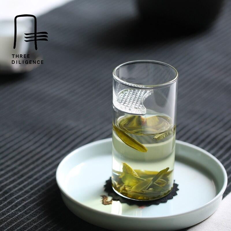 En verre clair tea infuser tasse avec filtre passoire à thé vert tasse sans couvercle potable verre thé pot sans couvercle croissant