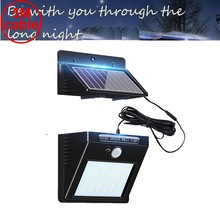 30 led 500lm solar light split mount pIR motion senser Solar Lamp Garden street wall indoor garage step stair w 5M cable 3 modes