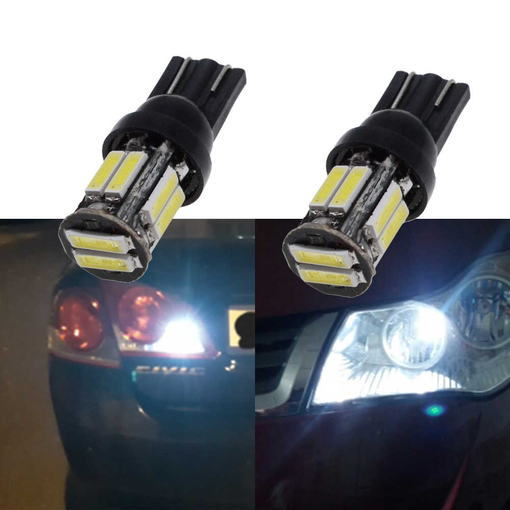 Grandey 4Pcs W5W 10-7020 SMD Car T10 LED 194 168 Wedge Replacement Reverse Instrument Panel Lamp White Blue Bulbs Lights Blue