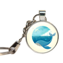 Whale Keychains Glass Dome Tiger Whale Gifts For Bestfriend Key Rings Sea Animal Lover Key Chain Glass Cabochon Key Holder