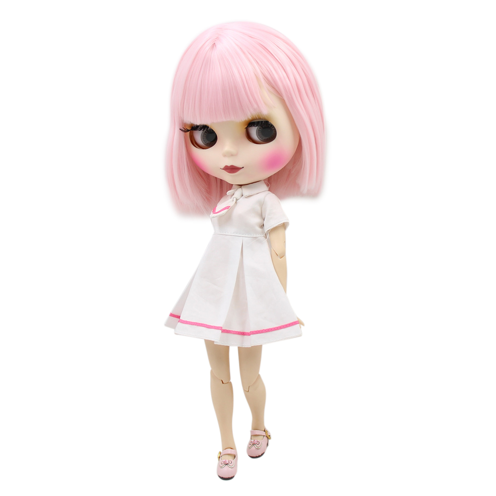 blyth doll joint body factory BJD doll 2352 Cute pink supple short hair for girl present DIY white skin frosted face