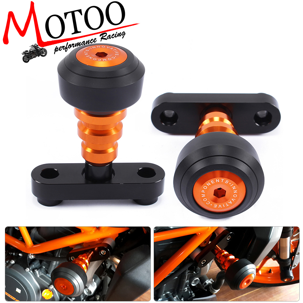 Motoo - Motorcycle Aluminum Orange Motorbike Left and Right Frame Slider Anti Crash Protector For KTM DUKE 125 200 390 black windscreen windshield for ktm 125 200 390 duke motorcycle motorbike dirt bike free shipping