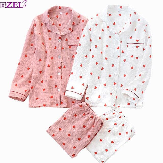 Conjunto de pijamas con estampado de corazón para mujer, ropa de algodón con cuello vuelto de doble capa de crepé, pantalones de manga larga, ropa para el hogar