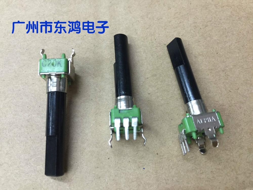 2PCS/LOT Taiwan brand ALPHA potentiometer type RK09, C20K axis long, 30MM half shaft canada 24 type potentiometer 2 5k