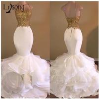 Casamento Sexy Mermaid Wedding Dresses 2017 Gold Appliques Lace Ruffles Tiered Bridal Gowns Zipper Open Back Robe De Mariee
