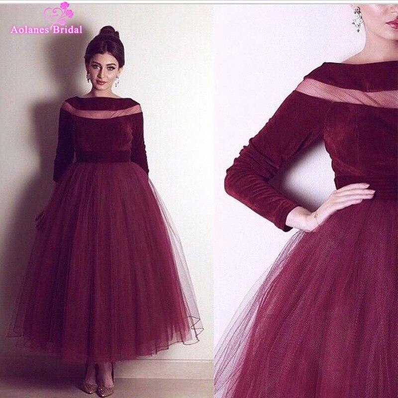 Borgoña elegante de tulle vestidos de baile 2017 nuevo barco cuello longitud ank